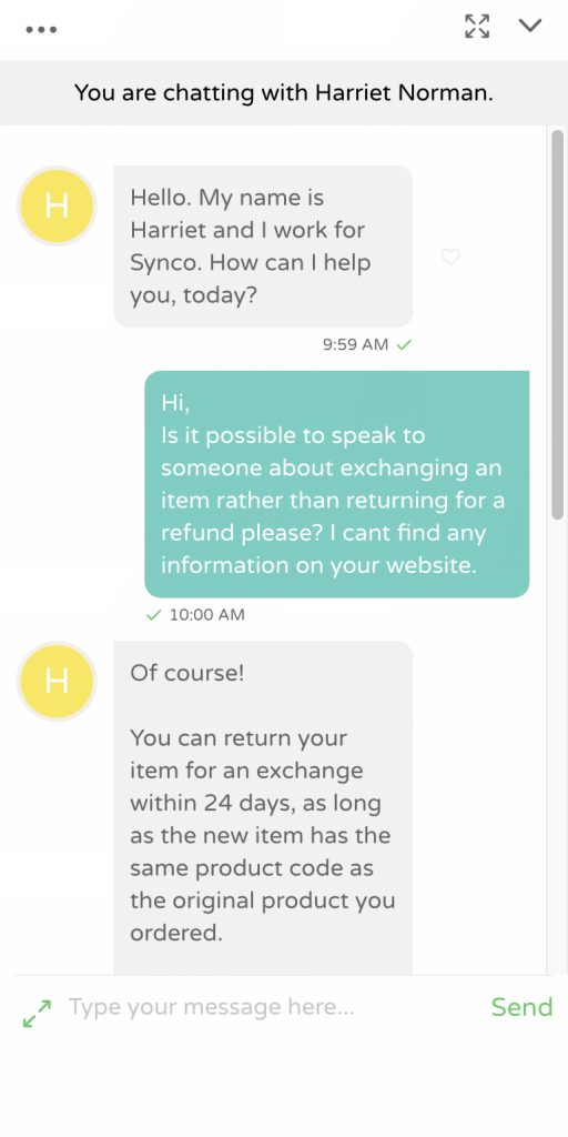 An image that shows an example of live chat.