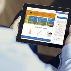 Image of man using a chatbot on an ipad