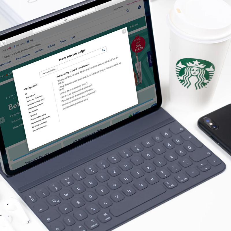 Image of laptop showing knowledge for your customers